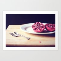 pomegranate Art Prints featuring pomegranate by Mary Carroll