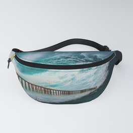 Abstract landscape ocean waves Fanny Pack