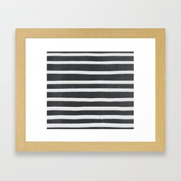 White Paint Stripes on Concrete Framed Art Print