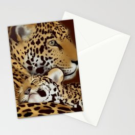 Jaguar mother and cub Stationery Cards