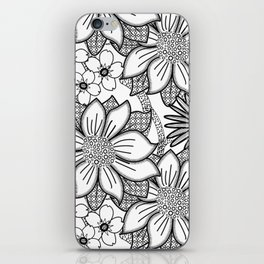 Black and White Floral Drawing iPhone Skin
