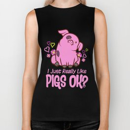 I Just Really Like Pigs Biker Tank