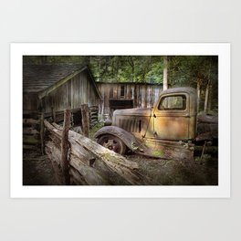 Old Farm Pickup Truck in the Smoky Mountains in Tennessee Art Print