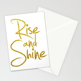Rise And Shine Glitter Gold Stationery Cards