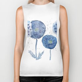 4 indigo abstract dandelion 2 Biker Tank