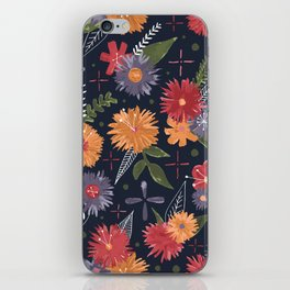 bright floral pattern on navy iPhone Skin