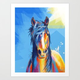 Horse Beauty - colorful animal portrait Art Print