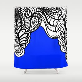 Blue Royal Doodle Artwork Shower Curtain