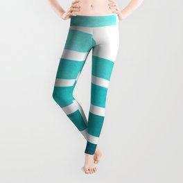 Blue Teal Turqoise Midcentury Modern Minimalist Staggered Stripes Rectangle Geometric Aztec Pattern Leggings