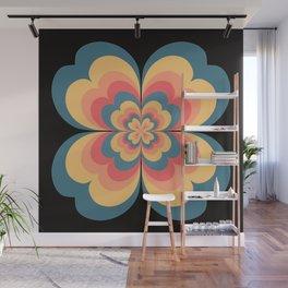 Vintage Flower Blooming On Black Flower Child Wall Mural