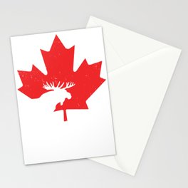 Maple Leaf Canada Day Moose Keep Calm  Stationery Cards