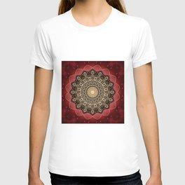 Boho chic Red Gold Mandala T-shirt