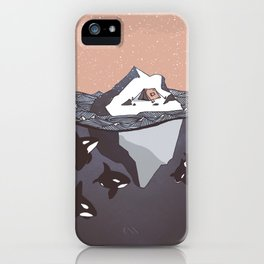 Pod of Orca (Killer Whales) spying on a small tent on an iceberg, under snowy pink sky iPhone Case