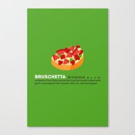 Bruschetta su Verde Canvas Print
