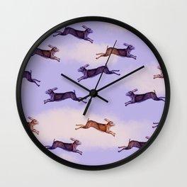 HARES IN FLIGHT Wall Clock