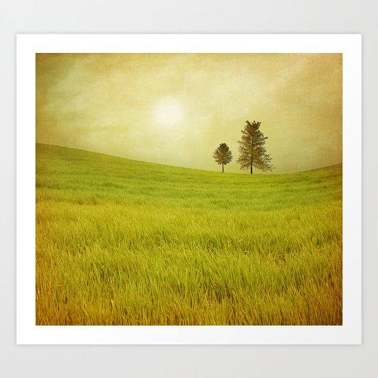 Trees & shining field Art Print