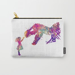 Girl and Dinosaur T-Rex Art Animals Nursery Decor Kids Room Watercolor Print Purple Home Decor Carry-All Pouch