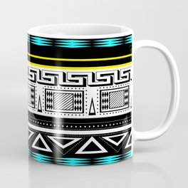 Black and white c turquoise abstract striped pattern . Coffee Mug