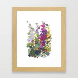 Purple Hollyhock Garden Framed Art Print