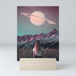 Saturn Moon  - Space Aesthetic, Retro Futurism, Sci Fi Mini Art Print