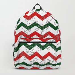 Sweet Forest Green  Red Chevron Silver Christmas Ginger Bread Man Backpack