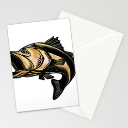 Largemouth Bass Scratchboard Stationery Cards