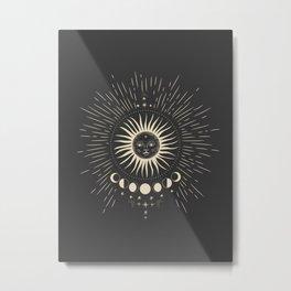 Mystic 94 Minimalist Magical Astrological Illustration Sun Symbol Moon Signs Black Dark Gothic Boho Bohemian Style Metal Print