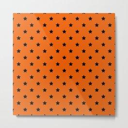 Orange and Black Stars Pattern Metal Print