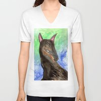 doberman V-neck T-shirts featuring Doberman by gunberk