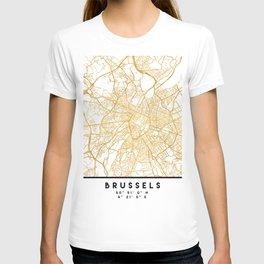 BRUSSELS BELGIUM CITY STREET MAP ART T-shirt