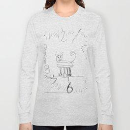 Cute Cat Clock by Ajax Bell, age 6 Long Sleeve T-shirt