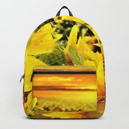 Sunflower fields with golden sky - Jéanpaul Ferro Backpack
