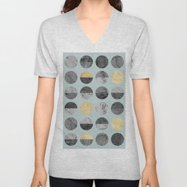 Marble and gold circles pattern I Unisex V-Neck