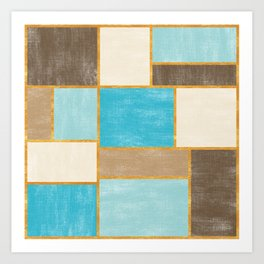 Painted Canvas Color Blocks // Caribbean Blues, Brown, Wheat, Gold Art Print