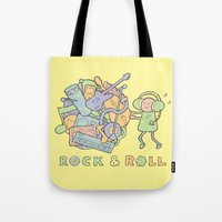 katamari Tote Bags featuring Katamari Rock & Roll by vonplatypus