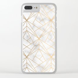 Geometric Gold Pattern on Marble Texture Clear iPhone Case