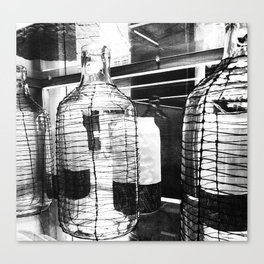 Glass Bottles Black and White. Canvas Print