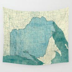 Wisconsin State Map Blue Vintage Wall Tapestry