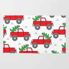red trucks and christmas trees Rug