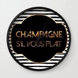 Champagne S'il Vous Plait Wall Clock