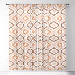 Hip Pastel Salmon Orange Brown White Ogee Waves Art Sheer Curtain