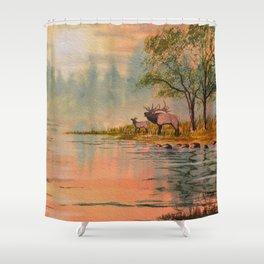 Elk Beside A misty River Shower Curtain