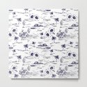 Tropical Island Vintage Hawaii Summer Pattern in Navy Blue by naturemagick