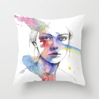 inspiration Throw Pillows featuring Inspiration by Tsukiko-Kiyomidzu