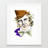 willy wonka Framed Art Prints featuring Willy Wonka by Bubble Trump Ltd