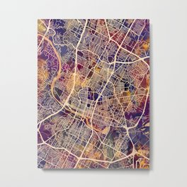 Austin Texas City Map Metal Print