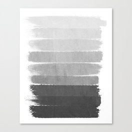 Brushstroke - Ombre Grey, Charcoal, minimal, Monochrome, black and white, trendy,  painterly art  Canvas Print