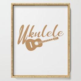 Ukulele Player Gift Hazel Retro Handwriting and drawi Serving Tray