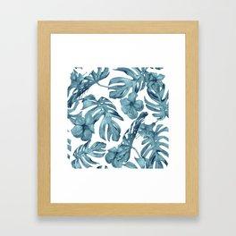 Teal Blue Tropical Palm Leaves Flowers Framed Art Print