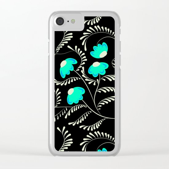 Retro . Turquoise flowers on a black background . Clear iPhone Case
